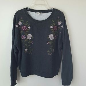 Floral Embroidered Gray Sweatshirt-Medium